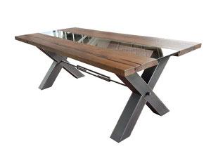 Industriedeign Esstisch massiv Eiche mit Glas und Kreuz Tischgestell