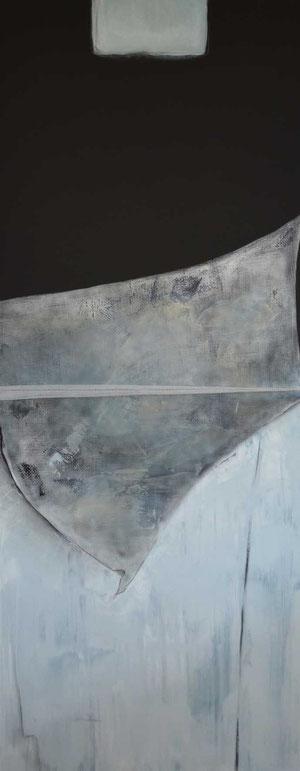 Andrea Ridder, O.T., 2011, Acryl & techn. Gewebe, 200 x 80 cm