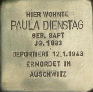 Stolperstein in memory of Paula Dienstag