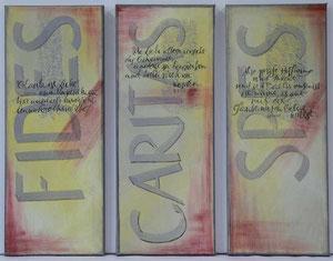Schriftkunst Tryptichon, Acrylbild: Handschrift auf Leinwand