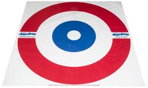 Cible de curling pour jouer au curling avec des enfants. Prix pas cher pour cette cible de curling bleu, blanc et rouge.