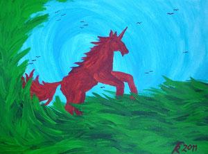 Rotes Einhorn, 2011 (Acryl auf Papaier, 24x32)