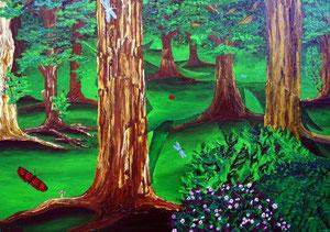 Einhornwald, 2006 (Acryl auf Leinwand, 50x70)