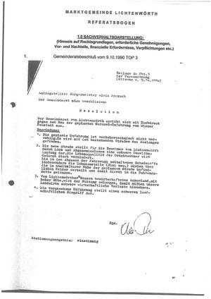 Gemeinderatsbeschluss 1990