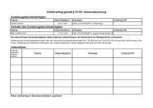 Initiativantrag gemäß § 16 NÖ. Gemeindeordnung