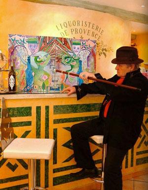 Jean-François Savornin avec la canne Versinthe de Toulouse-Lautrec