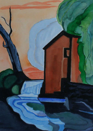 Along the Acequia, mixed media, 13.5 x 10.5