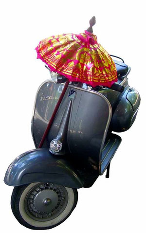 Vespa with temple-umbrella