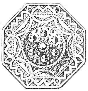 Goldener Gürtelknopf der Egerländer,                       Zeichnung: W. Scheuermann