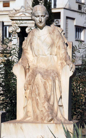 Striking marble statue of woman in Agios Spyridon church yard, Nicosia