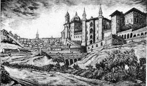 Urbino dopo la liberazione    -  1945  -  xilografia su legno di testa mm 198 x 327