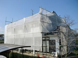 外壁リフォーム塗装【飛散防止メッシュシート】入間市