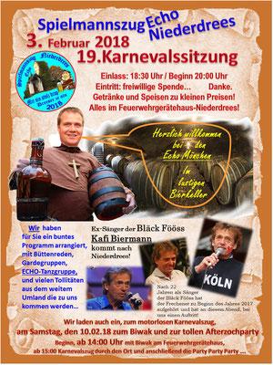 Plakat Echo Sitzung 2018 Spielmannszug Niederdrees