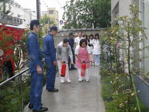 志村消防署の指導で防火訓練