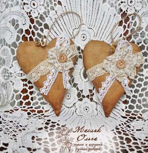 текстильное сердце в винтажном стиле. Маслик Ольга
