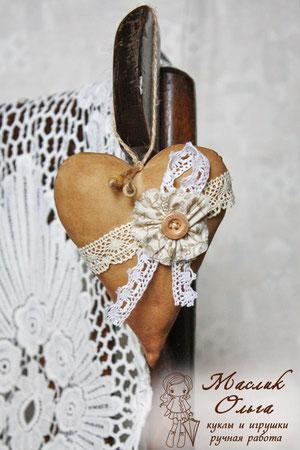 текстильные винтажные сердечки. Маслик Ольга