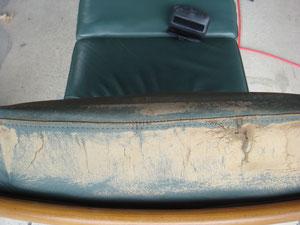 クリーニング工程を終わらせ表皮を整えての画像です。座面の側面