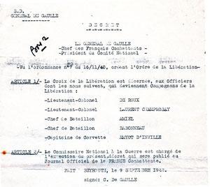 Croix de la Libération décernée à plusieurs Compagnons