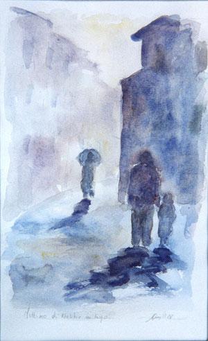 Mattino di nebbia in borgo, di Paolo Cimoni