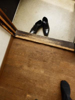 犬にガリガリされた框(かまち)と床・・・