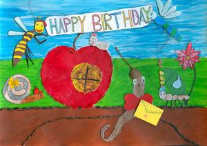 Das Kuvert  kann man öffnen - enthält noch einen  Geburtstagsgruß