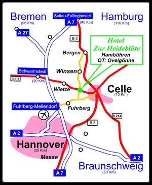 So gelangen Sie in die Region Hambühren. Nutzen Sie für Ihren Betriebsausflug oder der Betriebsfeier nach Hambühren die oben angegebenen Adressdaten.
