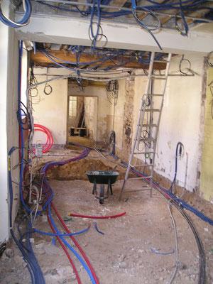 exemple de passage des câbles sur un chantier