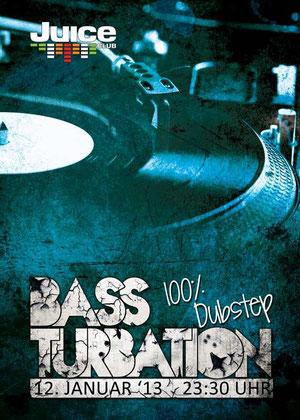 Flyer Bassturbation #2 Front - 12.01.2013 Juice Club, Hamburg