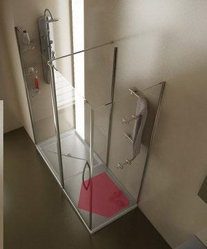 Mampara de ducha con toalleros