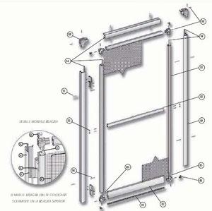 Despiece de mosquitera abatible de aluminio de una hoja