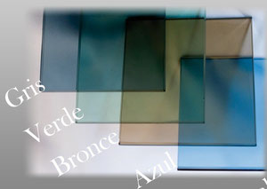 Mampara baño vidrio azul