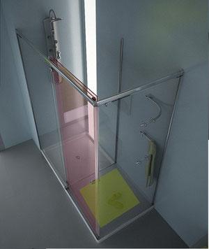 Hoja abatible de la mampara rectangular de ducha con zona de secado