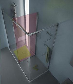 Zona de secado de la mampara de ducha rectangular HumiDry-4C