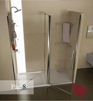 Mampara frontal de ducha con vestidor