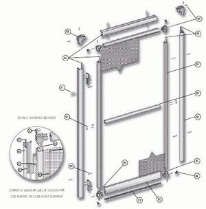 Despiece mosquitera de aluminio abatible de una hoja