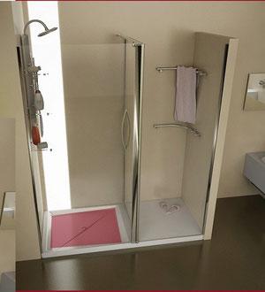 Mampara de ducha frontal con zona de secado