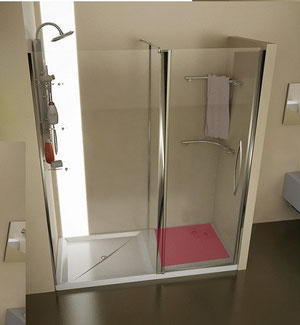 Mampara frontal de ducha con toalleros