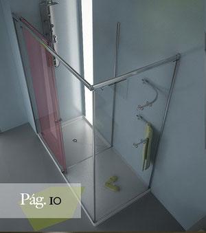 Hoja corredera abierta para el paso al vestidor de la mampara de ducha