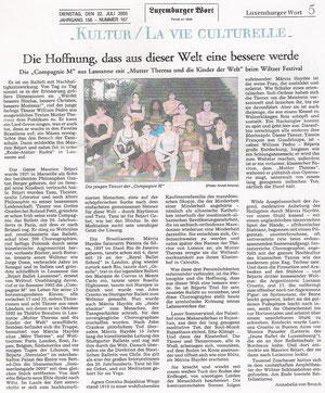 Ballett: Compagnie M / Maurice Béjart u. Mutter Theresa. Luxemburger Wort, 22.7.2003