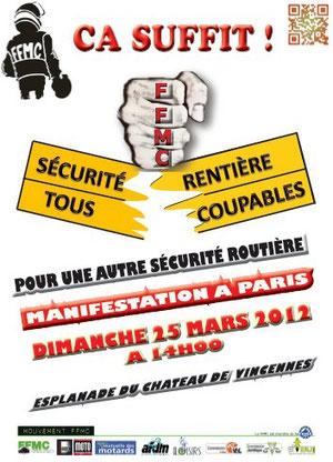 Manifestation FFMC à Paris le 25 mars 2012