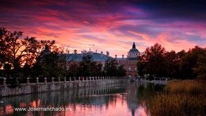 atardecer en el Palacio Real de Aranjuez