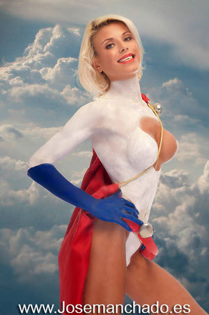 power girl bodypaint, power girl cosplay, power girl body paint, superheroine body paint, comic body paint, superwoman body paint, power girl nude, avengers nude, avengers body paint