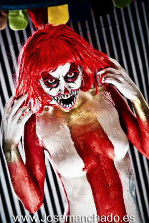 body paint, body paint madrid, academia body paint, psycho clown, clown body paint, hacerse un book, precios book, book madrid, sesion fotografica, sesion fotos madrid