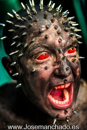 Bodypaint, spike head, punk head, josemanchado, fotos expresivas