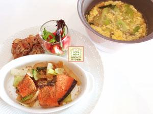 大阪兵庫で家事代行サービスの夕食作りで鮭と青梗菜のちゃんちゃん焼き