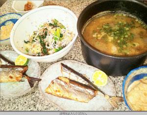 大阪兵庫で家政婦・家事代行サービスで食事作り夕食はサンマの塩焼き