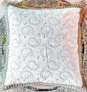 Thick, white, paisley-design, Indian-cotton cushion cover, interwoven with gold-metallic thread, & gold-braid, brush trim