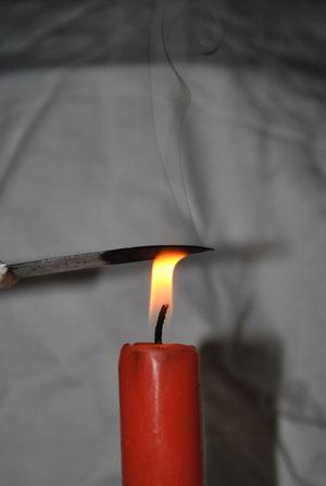 Abkühlende Kerzenflamme