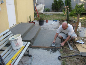 building new kitchen steps in concret.