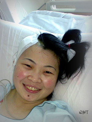 1st Op. At the ICU on 18 July 07. Don't you love my pony tails?